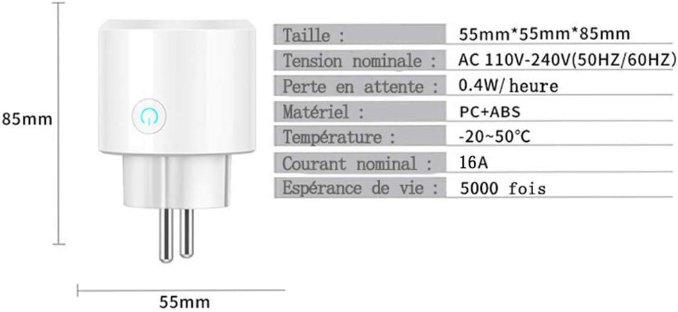 Prise Mini Connect/ée WiFi Compatible avec iOS//Android 2 iEay Prise Intelligente EU pour Alexa//Google Home//IFTTT//Tmall Elves Prises /Électricit/é Courant nominal 16A