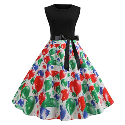 1ebe67a70cff 2019 Women's Floral Printing Mini Skirt,Summer Outdoor Bow O-Neck  Sleeveless Vintage Party Evening Swing Princess Dress (Multicolor, M)
