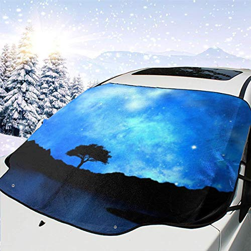 LFCLOSET Tree Silhouetted Against Starry Night Universal Car Front Windshield Sunshade for SUV Trucks ()