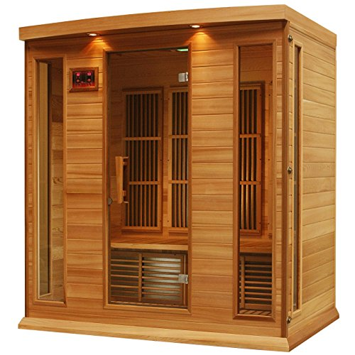 Maxxus 4 Person Corner Low EMF Far Infrared Carbon Heater Sauna (Cedar Edition) (3 Person Corner Infrared Sauna)