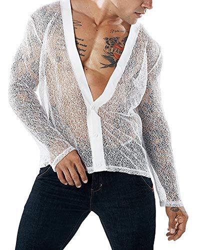 HaoDong Mens White Sexy Shirts See Through Undershirts Long Sleeve Blouse 2XL