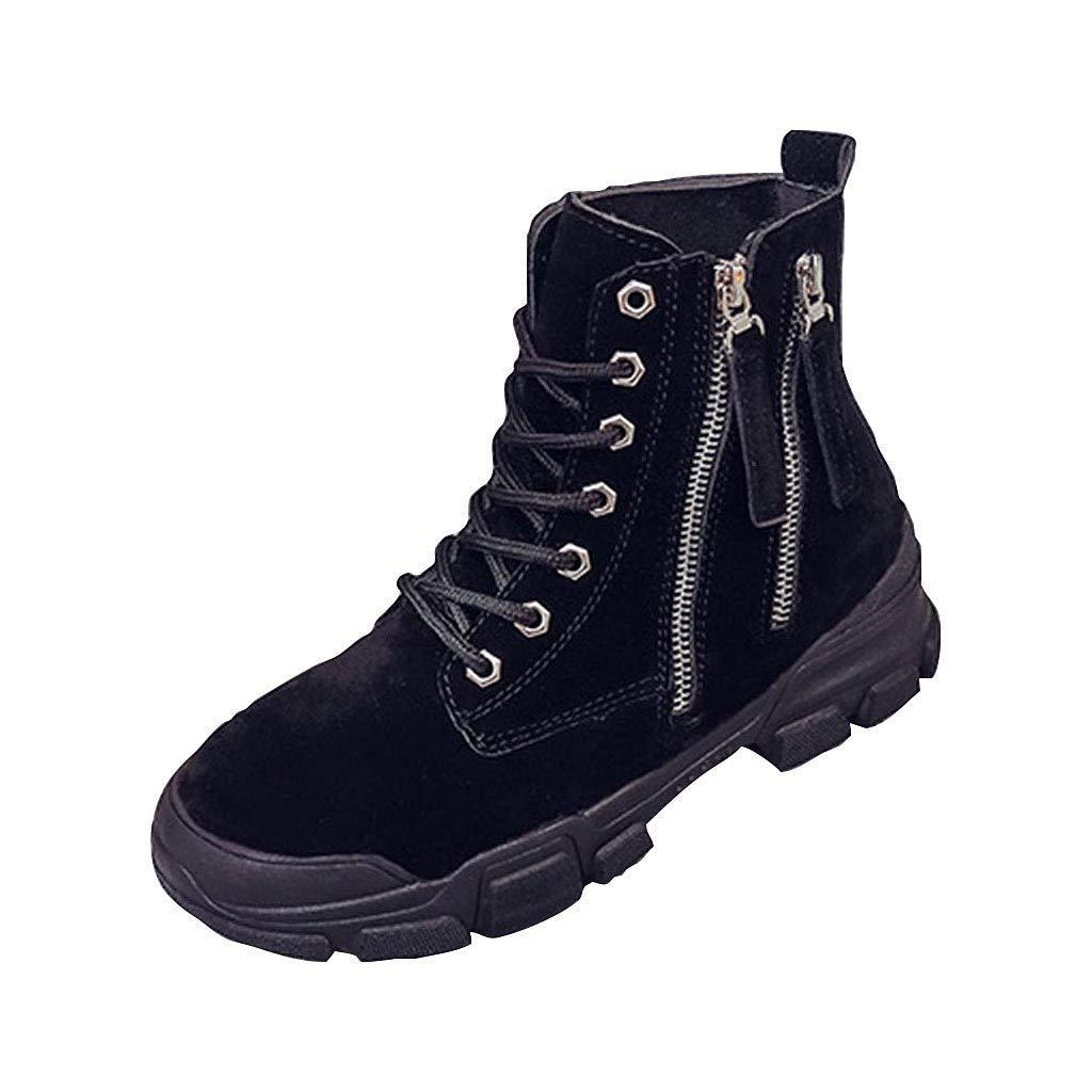VonVonCo Autumn Fashion Roman Round-ed Lace-Up Ankle Boots Classic Women Shoes Black