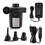 Jakoghii Electric Air Pump Air Mattress Pump for Inflatable Blow Up Pool Toys Air Mattress Rafts Bed Boat Floats, Quick-Fill Air Pump with 3 Nozzles,110V AC/12V DC