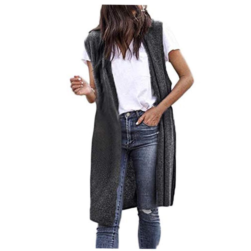 Fatchot Womens Ladies Sleeveless Maxi Long Length Boyfriend Cardigan Collared Top Long Floaty Duster Jacket Coat Blazer Waistcoat