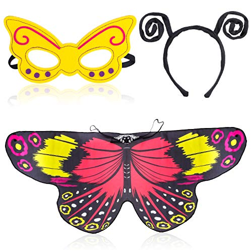 Beelittle Butterfly Wings Costume for Girls Kids with Antenna Headband and Cute Mask (Red Yellow)