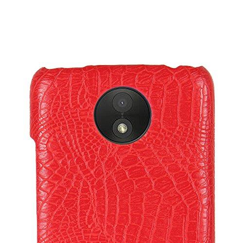Funda Moto C Plus, SunFay Funda Posterior Protector de PC Carcasa Back Cover de Parachoques Piel PU Protectora de Teléfono Para Motorola Moto C Plus - Rojo Rojo