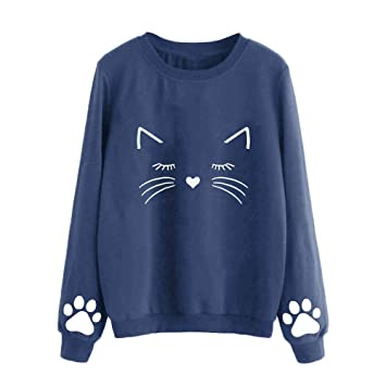 Most Wished! Teresamoon Women Autumn And Winter Cat Weater Round Neck Long Sleeve Regular Blouse
