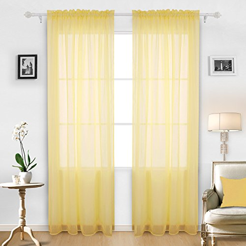 Crushed Sheer 84 Inch Curtain - Deconovo Rod Pocket Crushed Voile Curtains Sheer Window Curtains for Bedroom 52x84 Inch Yellow 2 Panels