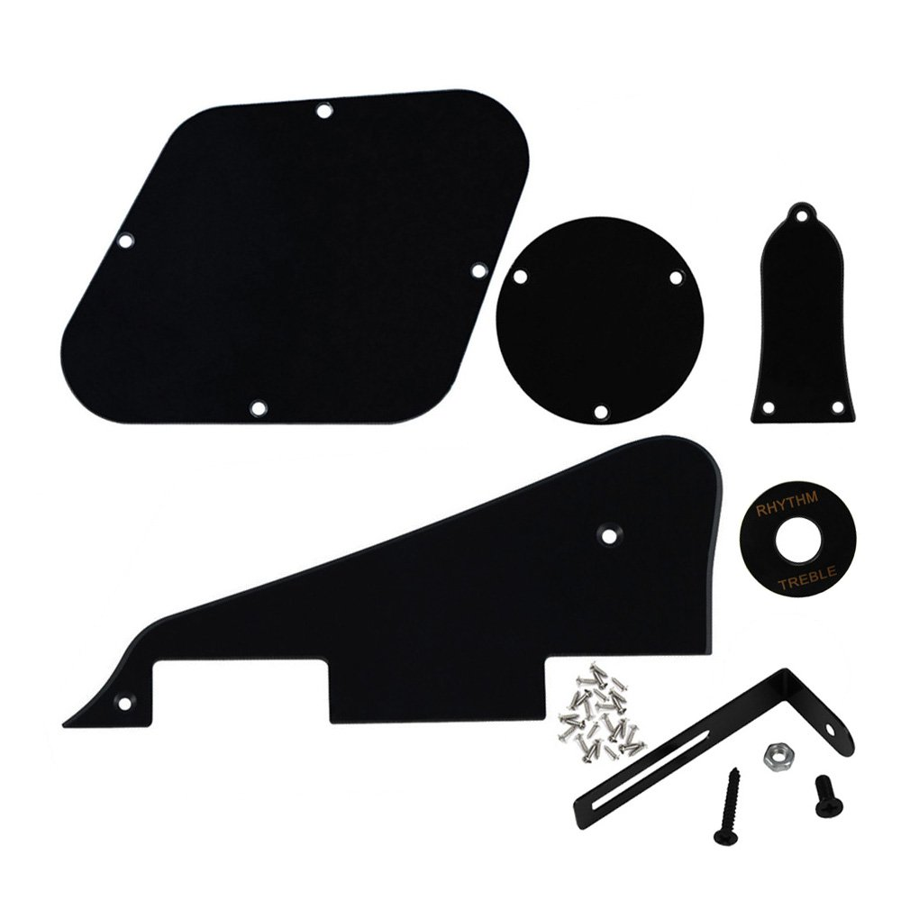 FLEOR 3Ply Black Pickguard Back Plate Screws Set /& Switch Ring /& Truss Rod Cover Plate /& Silver Bracket Fit Gibson Les Paul Pickguard Replacement