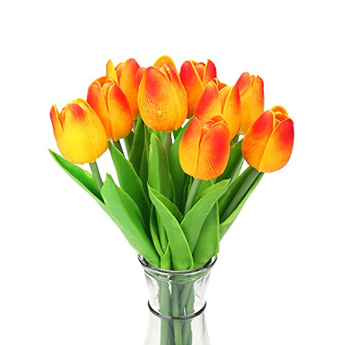 Decora 10Pcs/Bag High Quality PU Holland Mini Tulip Artificial Flower Real Touch for Wedding,Room,Home,Hotel,Party Decoration and Holiday Gift(Yellow and Red)