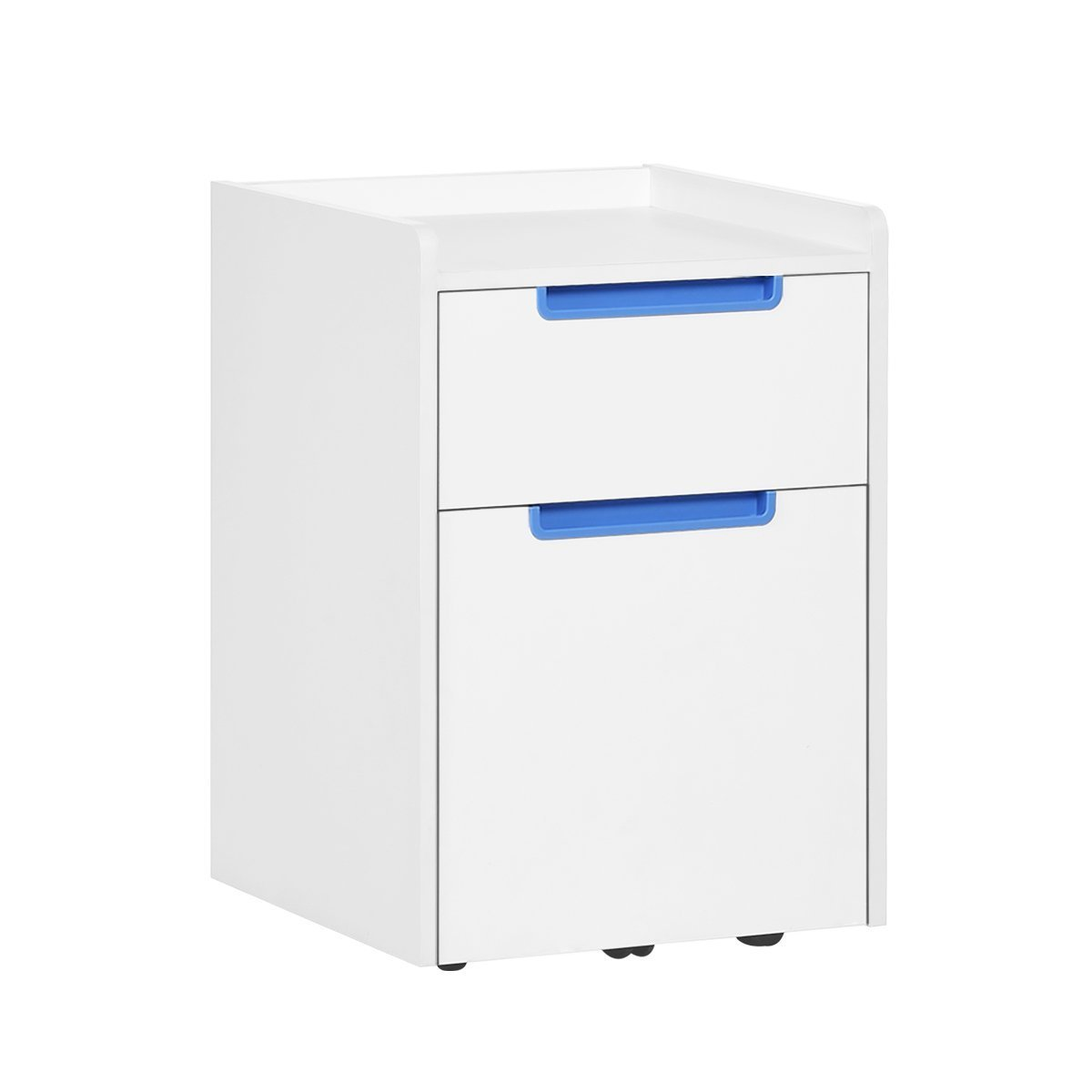 DEVAISE 2-Drawer Wood Mobile File Cabinet with Wheels, Letter Size / A4, White & Blue CZBOAO