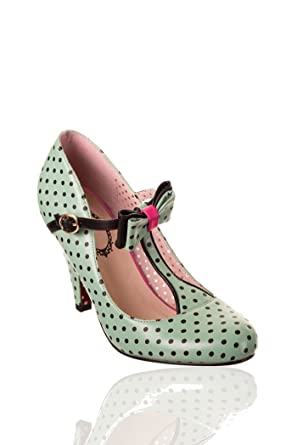 Banned MARILYN 50s POLKA DOTS Punkte T-Strap High Heels PUMPS Rockabilly