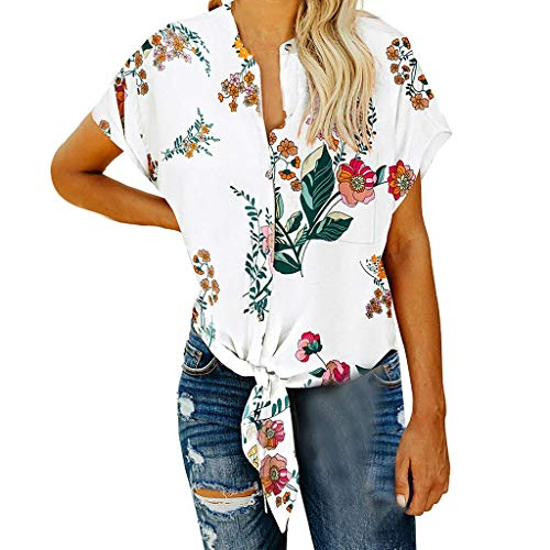HIRIRI Womens Short Sleeve V Neck Button Down Shirts Tie Front Knot Henley Tops Summer Loose Blouses White ()