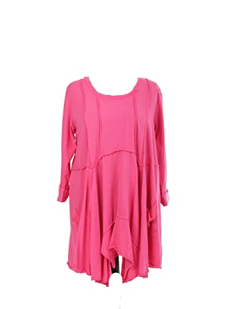 6302e242862 New Italian Ladies Women Swing Dress Top with Front Pockets Plus Size Fits  14 16 18 20 22 24 (Cerise)  Amazon.co.uk  Clothing