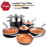 Michelangelo 12 Piece Cookware Set with Non-Stick Ceramic Titanic Coating, Induction Pots