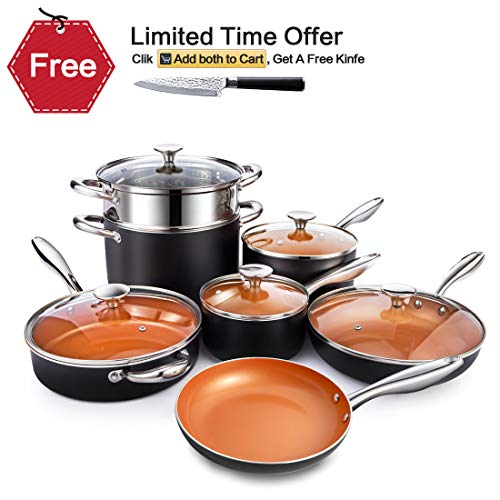 (MICHELANGELO Copper Cookware Set 12 Piece with Nonstick Ceramic Coating, Copper Pots and Pans Sets Induction, Ceramic Cookware Set Nonstick - Include Skillet, Saute Pans, Stock Pot and Steamer Insert)