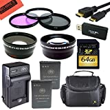 Advanced Accessory Kit for Nikon Coolpix P900 Digital Camera - Includes 2 ENEL23 Batteries and Battery Charger + 64GB SD Memory Card + 67mm Filter Kit + Wide Angle and Telephoto Lens + Carrying Case