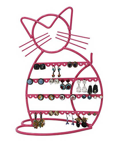 Tree Shape Earring (Cat Shape Metal Wire Earring Holder/ Organizer / Hanger Display Stand by ARAD (Pink Finish))
