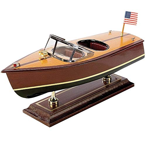 Double Cockpit Wooden Boat Model w/ Acrylic Windshield & Metal Fixtures