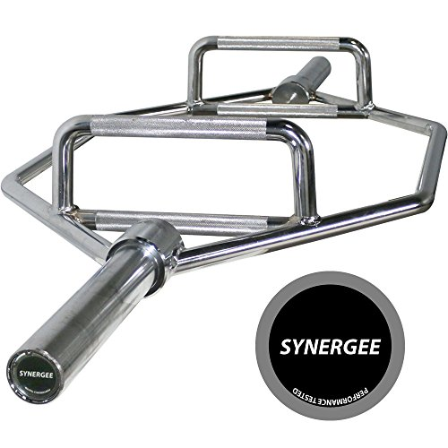 """iheartsynergee 25kg Chrome Olympic Hex Barbell Trap Bar with Two Handles for Squats, Deadlifts, Shrugs and Power Pulls. 56"""" Long Bar with 10"""" Sleeve."""