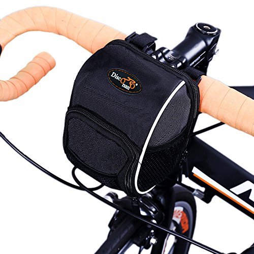 Disconano Cycling Bike Bicycle Handlebar Bags Front Baskets Black with Rain Cover