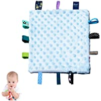 Baby Tags Security Blankets - Baby Soothing Plush Blanket with Colorful Tags, Square Sensory Toys, 10 x 10 inches, for 0…