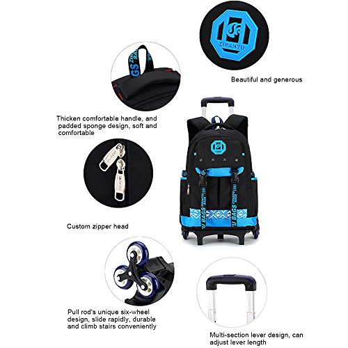 Amazon.com: Pannow Nylon Waterproof Rolling Backpack, Freewheel Travel School Wheeled Backpack, Carry-on Luggage for High School, Rolling School Bag, ...