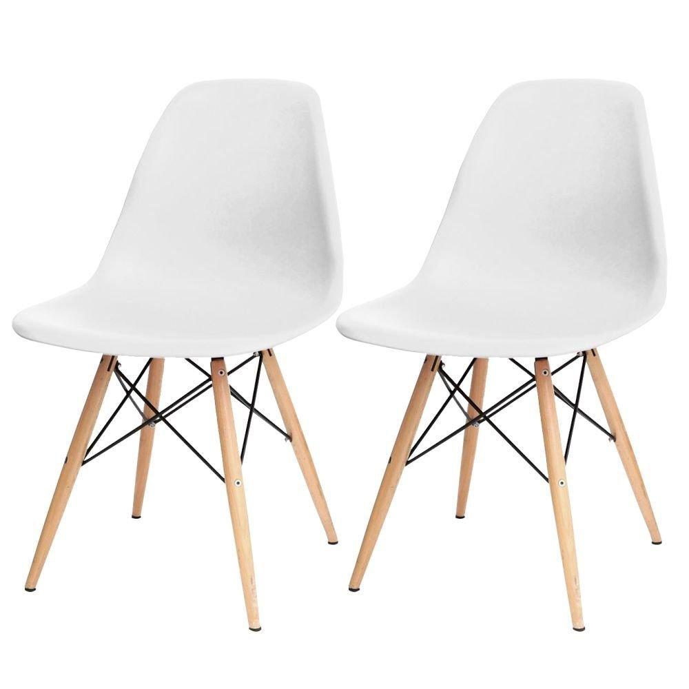 Kit 02 Cadeiras Decorativas Eiffel Charles Eames Branco com Pés de Madeira - Lym Decor