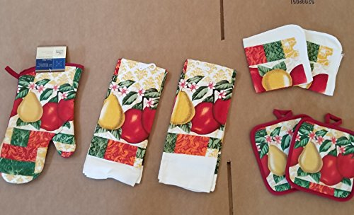 Kitchen Linen Set Pears And Apples 7 Piece Set Oven Mitt (1) Pot Holder (2) Towels (2) Dish Cloth (Apple Dish Set)