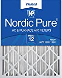 Nordic Pure 16x25x4M12 16-Inch by 25-Inch by 4-Inch MERV 12 AC Furnace Air Filter, 6-Piece