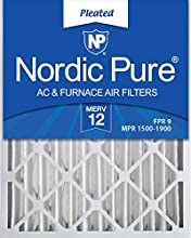 Nordic Pure 18x24x4 (3 5/8) MERV 12 Pleated AC Furnace Air Filters, 2 Pack