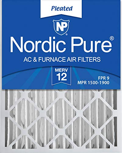 Nordic Pure 16x20x4 (3-5/8 Actual Depth) MERV 12 Pleated AC Furnace Filter, Box of 2 ()