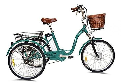 Triciclo eléctrico Jorvik de 24 pulgadas, para adultos, de aluminio, 250 W o 36 V, verde: Amazon.es: Deportes y aire libre