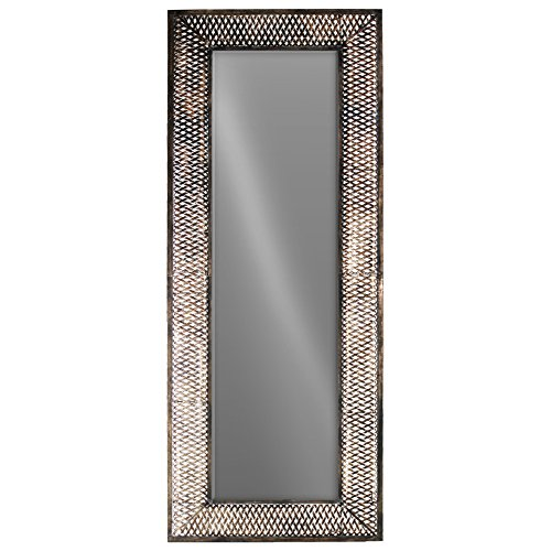 UTC94241 Metal Rectangular Wall Mirror with Pierced Metal Design Frame Metallic Finish Bronze by Urban Trends Collection