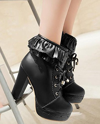 Idifu Womens Sweet High Block Tacchi Plateau Ankle Martin Boots Lace Up Stivaletti Neri