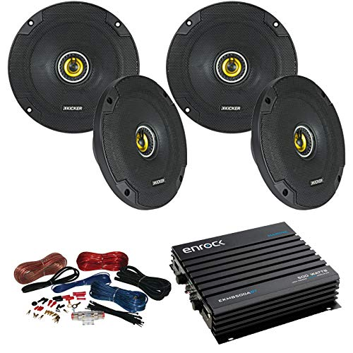 - Car Speaker And Amp Combo: 4x Kicker 43CSC654 600-Watt 6-1/2