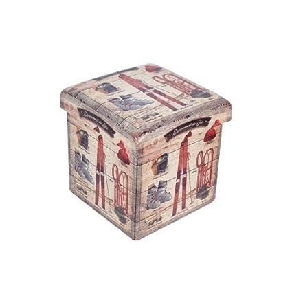 CAPRILO Taburete Plegable Decorativo de Madera Juvenil Retro. Cajas Multiusos. Baúles.Muebles Auxiliares