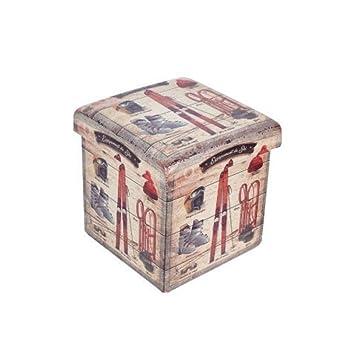 CAPRILO Taburete Plegable Decorativo de Madera Juvenil Retro. Cajas Multiusos. Baúles.Muebles Auxiliares. Regalos Originales. Decoración Hogar.