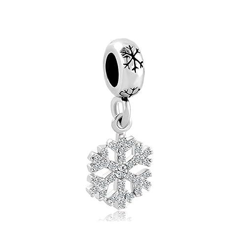 nuovo di zecca 89b46 26cd6 Uniquee, charm a forma di fiocco di neve, con cristalli portafortuna,  compatibile con braccialetti