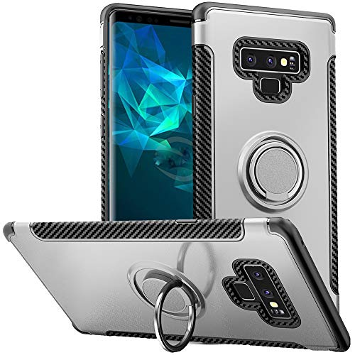 Anccer Compatible for Samsung Galaxy Note 9 case, Metal Ring Kickstand, 360°+ 180° Two-Dimension Rotation Swivels Slim Soft TPU+PC Protective Case, Compatible with Magnetic Car Mount (Silver) ()