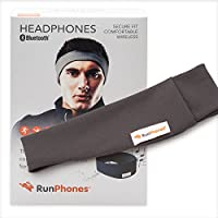 RunPhones Wireless Exercise Headphones | BlueTooth Easily Connects Devices | Ideal for All Workouts | Precise Sound, Slim Speakers w/in a Moisture-Wicking Headband - Graphite Gray