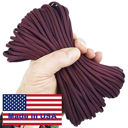 Paracord Wild Plumb Maroon 100 ft. Hank, 7 Internal Strands, 550 Lb. Break Strength.  Military Survival Parachute Cord for Bracelets & Projects.  Guaranteed Made In US.  Includes 2 eBooks.]()