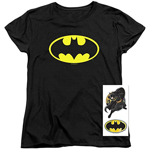 Batman+Shirts Products : Womens Batman Classic Logo T Shirt for & Exclusive Stickers