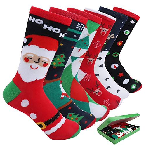 6 Pairs Womens Christmas Holiday Casual Socks, Gift Socks for Women with Gift Box Colorful Cotton Crew Socks EXTENDAY