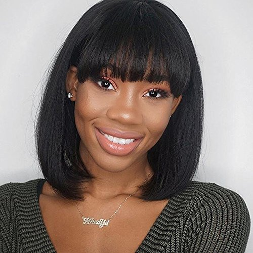 Short Bob Wig with Bangs 13'' Straight Synthetic Hair Cosplay Wigs for Women Natural Black Color Heat Resistant by UQinZ