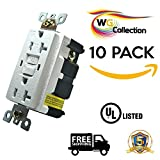 WG Collection 20A 125 Volt Tamper-Resistant, Water Reistant GFCI Outlet, Receptacle, UL Listed, White , LED Indicator For Residential and Commercial use.10 Pack