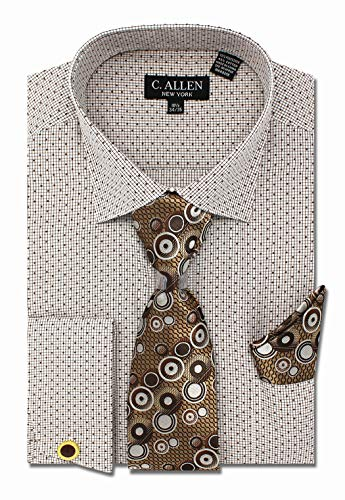 (Men's Dot Printed Regular Fit Dress Shirts with Tie/Hanky Cufflinks Combo)