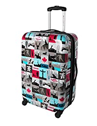 Atlantic Canadiana 24-Inch Expandable Hardside Spinner Luggage, Multi, Checked-Medium