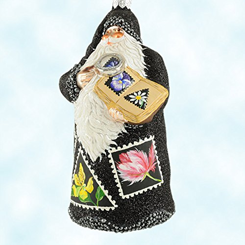 Patricia Breen Evans Santa Ornament Bejeweled Floral Stamp Collecting 2005 (2005 Glass Ornament)