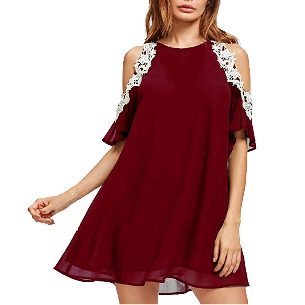 Tantisy ♣↭♣ Women's Off Shoulder Lace Flowy Dresses Summer Loose Chiffon Plus Size Ladies Casual Dress Red